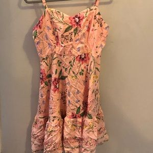 Old Navy pink floral ruffle bottom dress
